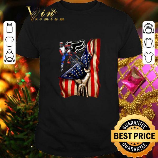 Funny Motorcycle Fox Racing American flag shirt