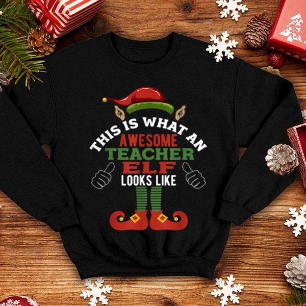 Hot Awesome Teacher Elf Funny Christmas shirt