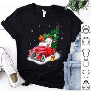 Hot Maltese Rides Red Truck Christmas Tree Xmas Gifts shirt