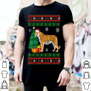 Hot Tiger Christmas Sweater Decorations Santa Hat Xmas Lights shirt