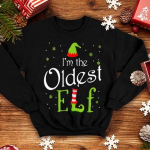 Nice I'm The Oldest Elf Funny Group Matching Family Xmas Gift sweater