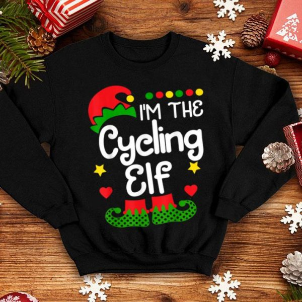 Official I'm The Cycling Elf Christmas Family Elf Costume Tee shirt