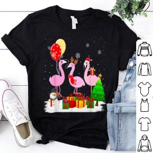 Official Three Flamingos Christmas Xmas Santa shirt