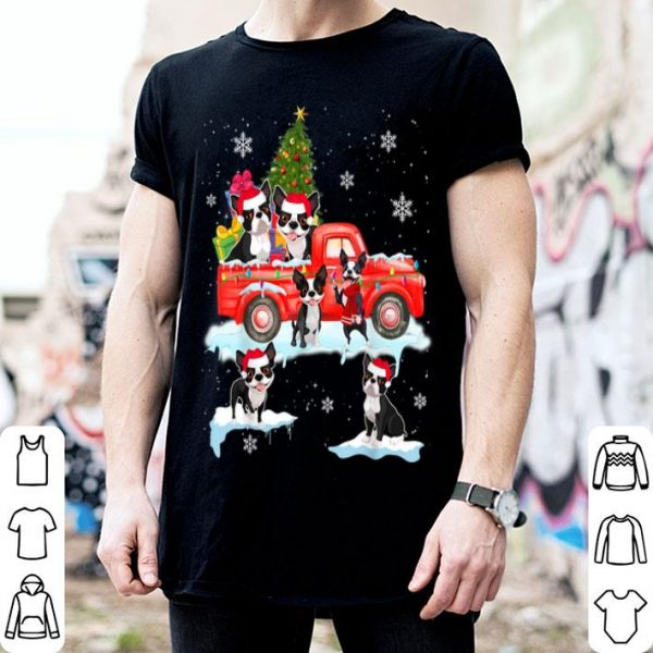 Original Christmas Dog On Red Car Boston Terrier Truck Christmas Tree shirt