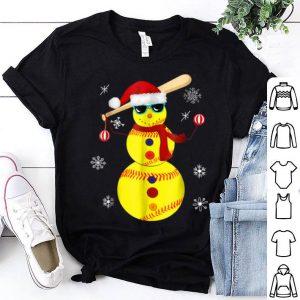 Premium Christmas Softball Bat Snowman Santa Snowflake Youth shirt