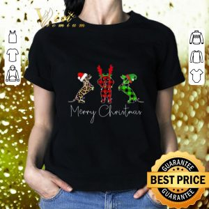 Premium Dachshund leopard Plaid Printed Merry Christmas shirt