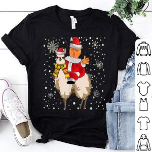 Premium Funny Christmas Trump Riding Llama Santa Pajama Gift sweater