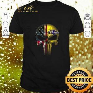 Premium Punisher Skull American flag Baltimore Ravens shirt