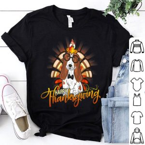 Pretty Happy Thanksgiving Basset Hound Turkey Dog Lover Gift shirt