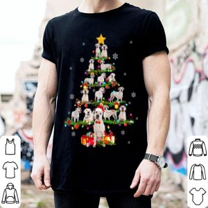 Top Dogo Argentino Tree Christmas santa Hat Paw up Star X-mas shirt