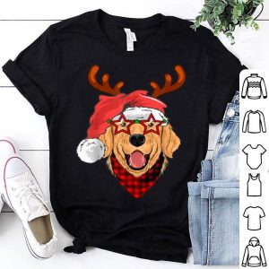 Top Golden Retriever Santa's Hat Buffalo Plaid Bandana Christmas shirt