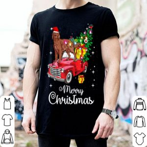 Top Irish Setter Rides Red Truck Christmas Pajama sweater