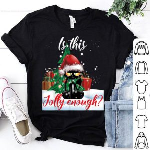 Top Is This Jolly Enough Grumpy Black Cat Christmas Lights gifts shirt