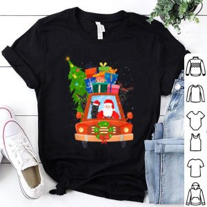 Top Santa And Scottie Riding Red Truck Merry Christmas sweater