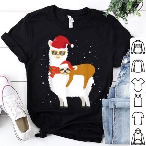 Top Sloth Christmas Santa Riding Santa Xmas Llama Snowflake Gift shirt