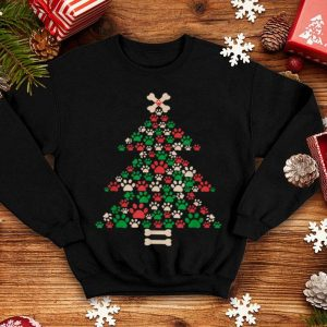 Awesome Christmas Tree Made Of Bones And Paw Prints Dog Lover sweater