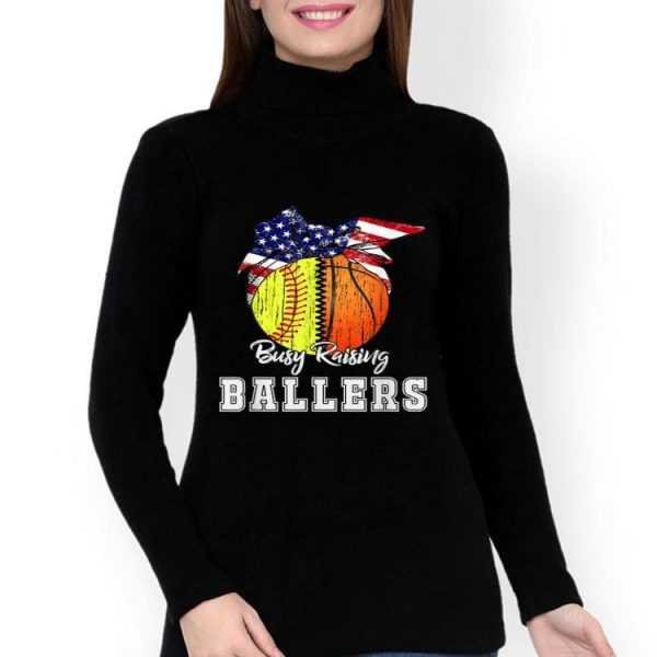 Busy Raising Ballers Softball Basketball American Flag shirt