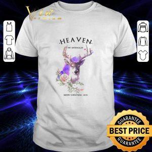 Cheap Reindeer Heaven art watercolor Merry Christmas 2019 shirt