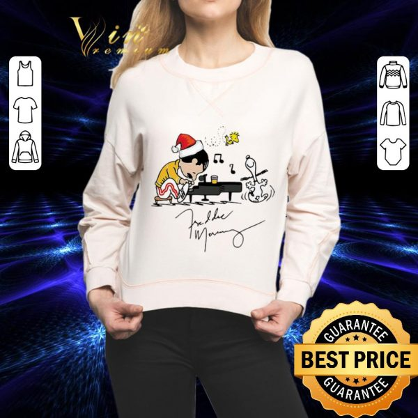 Funny Freddie Mercury Playing Piano Snoopy Peanuts Signature Christmas shirt
