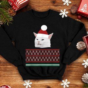 Original Christmas ugly sweater cheeky Table dinner cat dank meme sweater
