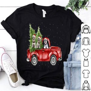 Original Schnauzer dogs Drvie Red Truck Christmas Pajama Xmas sweater