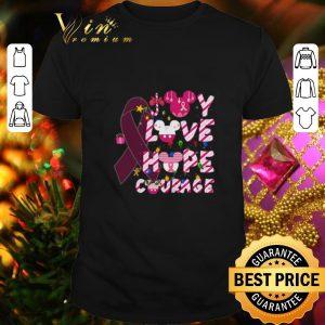 Premium Breast Cancer Joy Love Hope Courage Mickey head Christmas shirt