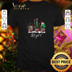 Premium Flamingos let's get it cactus Christmas shirt