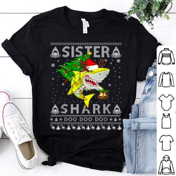 Premium Sister Shark Santa Christmas Family Matching Pajamas sweater
