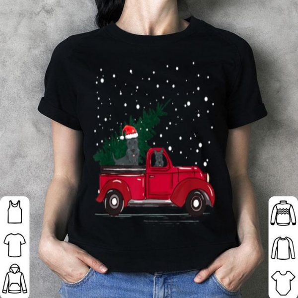 Top Red Truck pick up Scottie Dog Christmas lover gift sweater