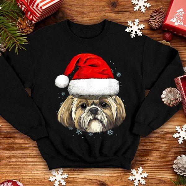 Top Shih Tzu Santa Hat Christmas Boys Girls Xmas Gift sweater