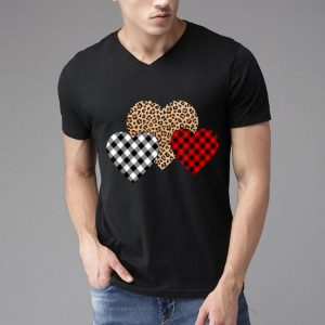 Valentine's Day Valentine Three Hearts Leopard Buffalo Plaid shirt