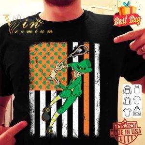 Lacrosse Player Leprechaun Irish USA Flag St Patrick's Day shirt