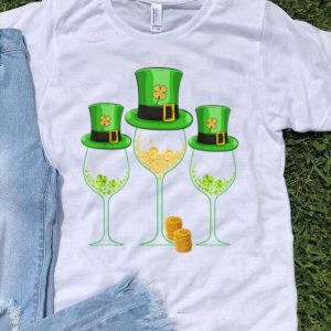 Official Three Wine Glass St Patrick's Day Gifts Lucky Irish Shamrock shirt