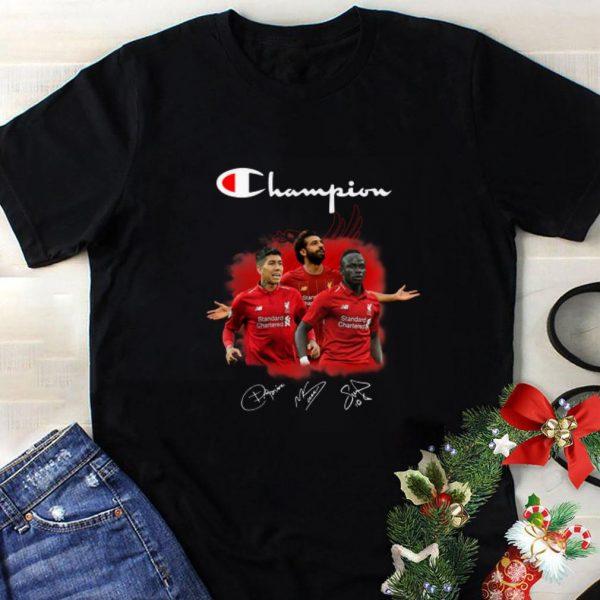 Premium Champion Roberto Firmino Mohamed Salah and Sadio Mane Signatures shirt