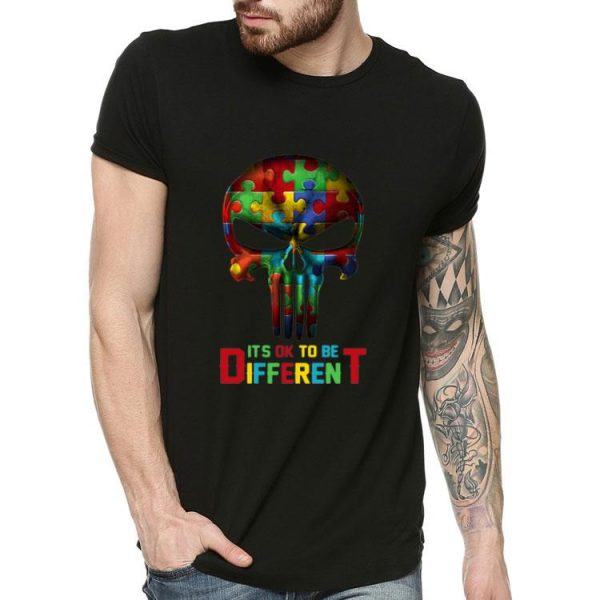 Skull It's Ok To Be Different Autism Awareness shirt