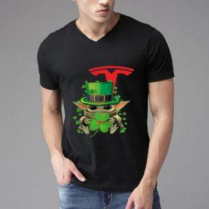 Star Wars Baby Yoda Tesla Motors Shamrock St. Patrick's Day shirt