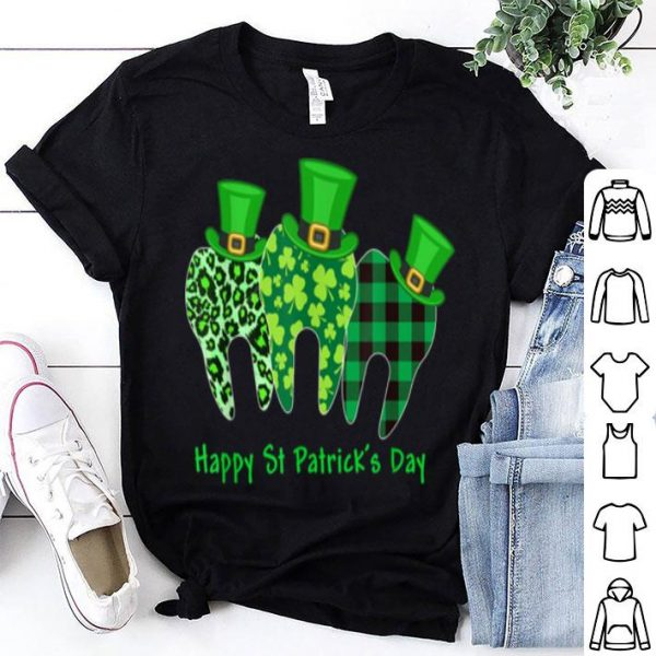 Awesome Dentist Teeth Leopard Shamrock Gift For St Patrick's Day shirt