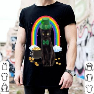 Nice Black Cat St Patricks Day Leprechaun Costume Shamrock Girls shirt