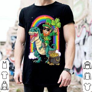 Premium Leprechaun Riding Dinosaur St Patricks Day Boys Kids T Rex shirt