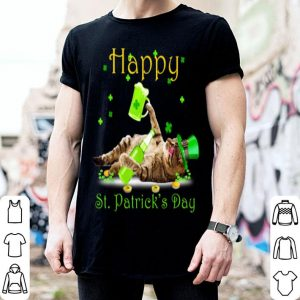 Pretty Cat & Green Beer Happy St Patricks Day Cat Lover Gift shirt