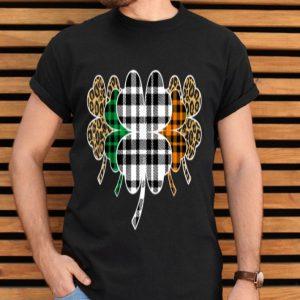 St Patricks Day Buffalo Plaid Leopard Shamrock Funny Irish shirt