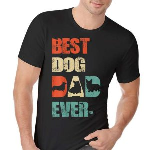 Best Corgi Dog Dad Vintage Fathers Day shirt