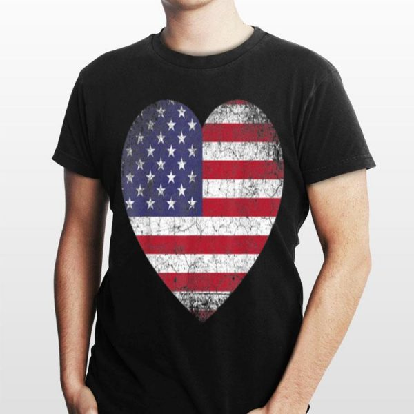 4th Of July American Flag Heart Vintage shirt