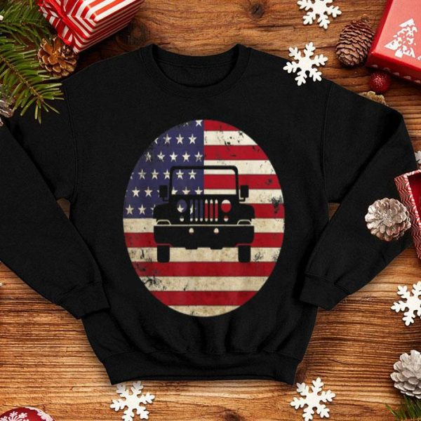 American flag 4 July Vintage Jeeps 70s Distressed Off Road shirt
