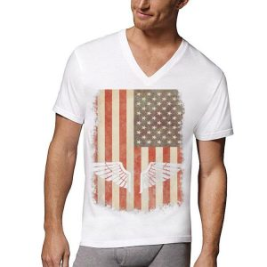 Armed Forces &Amp; 4Th July Vintage Distressed Usa Flag Tee shirt