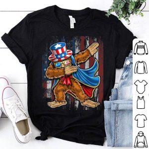 Dabbing Bigfoot Uncle Sam American Flag 4th of July shirt