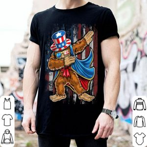 Dabbing Bigfoot Uncle Sam American Flag 4th of July shirt