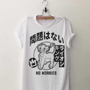 Disney Lion King Simba No Worries Kanji Graphic shirt