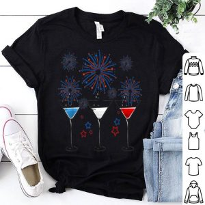 Red White Blue Wine Glasses Firework 4th Of July shirt