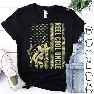 Reel Cool Uncle Camouflage American Flag Father Day shirt